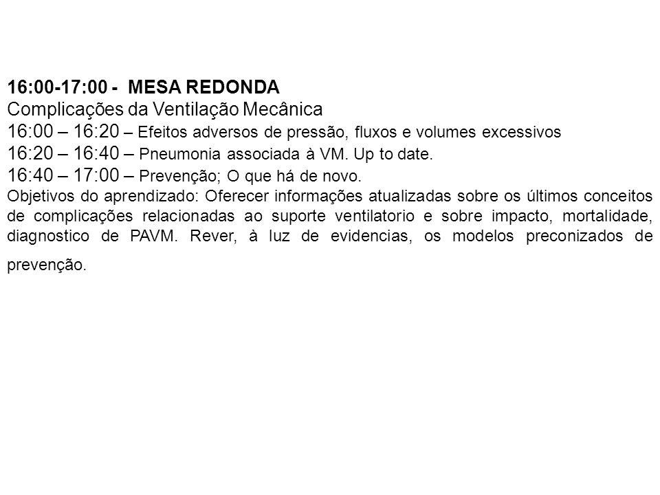 16:00-17:00 - MESA REDONDA Complicações da Ventilação Mecânica 16:00 – 16:20 – Efeitos adversos de pressão, fluxos e volumes excessivos 16:20 – 16:40