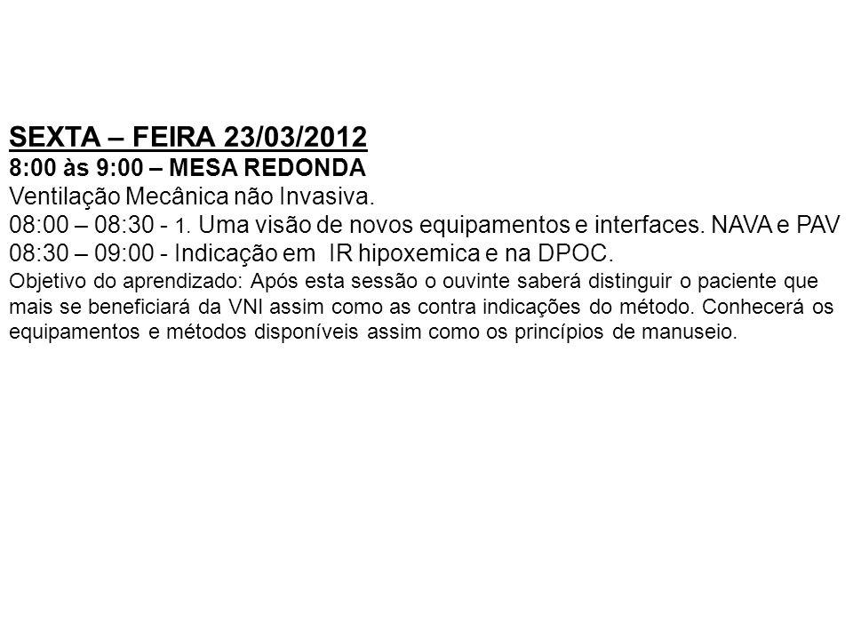 SEXTA – FEIRA 23/03/2012 8:00 às 9:00 – MESA REDONDA Ventilação Mecânica não Invasiva. 08:00 – 08:30 - 1. Uma visão de novos equipamentos e interfaces
