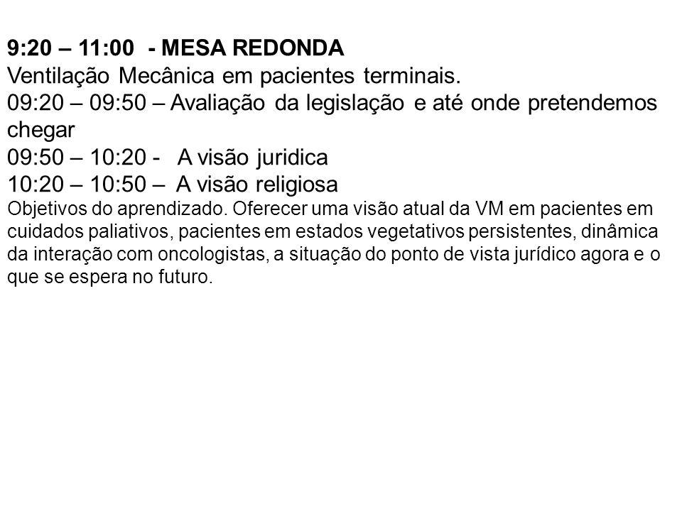 9:20 – 11:00 - MESA REDONDA Ventilação Mecânica em pacientes terminais. 09:20 – 09:50 – Avaliação da legislação e até onde pretendemos chegar 09:50 –