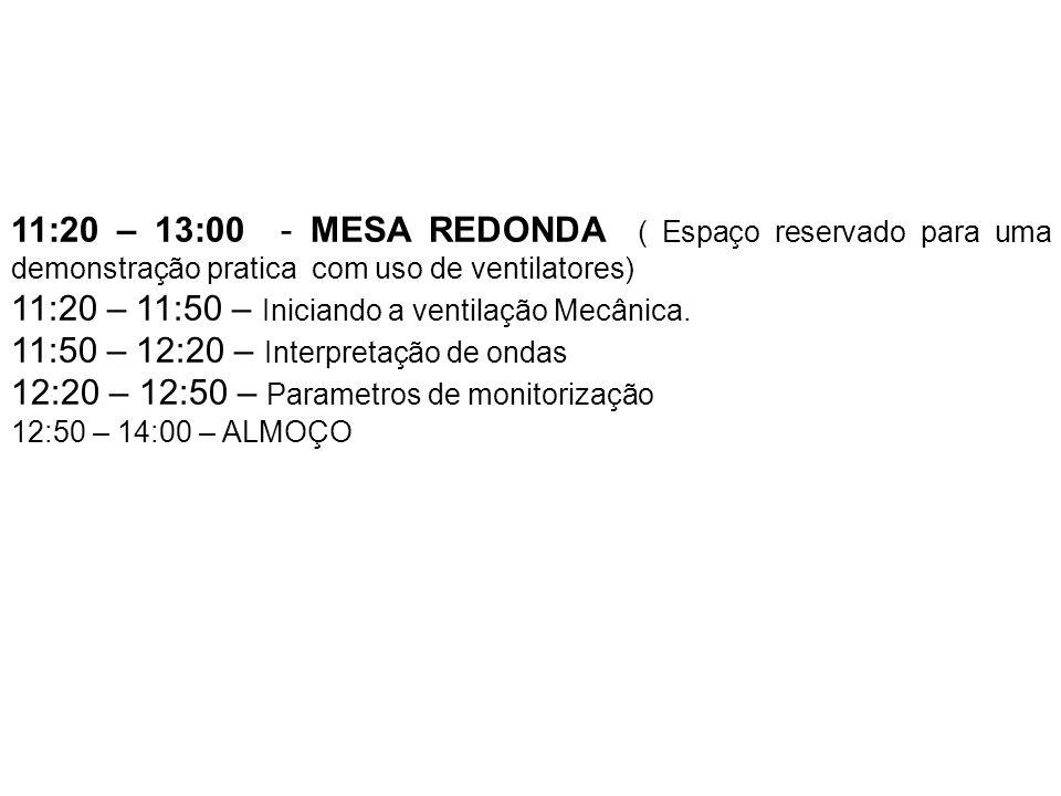11:20 – 13:00 - MESA REDONDA ( Espaço reservado para uma demonstração pratica com uso de ventilatores) 11:20 – 11:50 – Iniciando a ventilação Mecânica