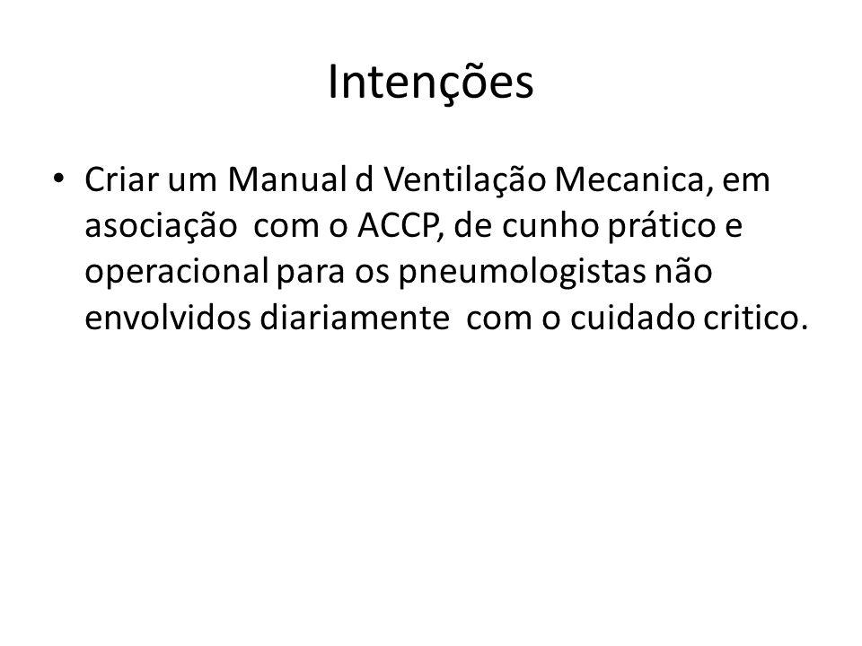 Intenções Criar um Manual d Ventilação Mecanica, em asociação com o ACCP, de cunho prático e operacional para os pneumologistas não envolvidos diariam