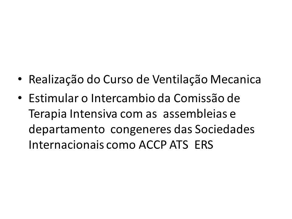 Realização do Curso de Ventilação Mecanica Estimular o Intercambio da Comissão de Terapia Intensiva com as assembleias e departamento congeneres das S