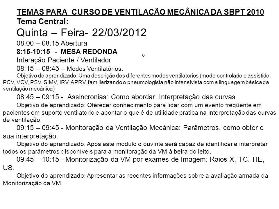 TEMAS PARA CURSO DE VENTILAÇÃO MECÂNICA DA SBPT 2010 Tema Central: Quinta – Feira- 22/03/2012 08:00 – 08:15 Abertura 8:15-10:15 - MESA REDONDA Interaç