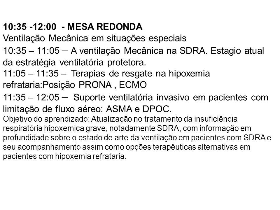 10:35 -12:00 - MESA REDONDA Ventilação Mecânica em situações especiais 10:35 – 11:05 – A ventilação Mecânica na SDRA. Estagio atual da estratégia vent