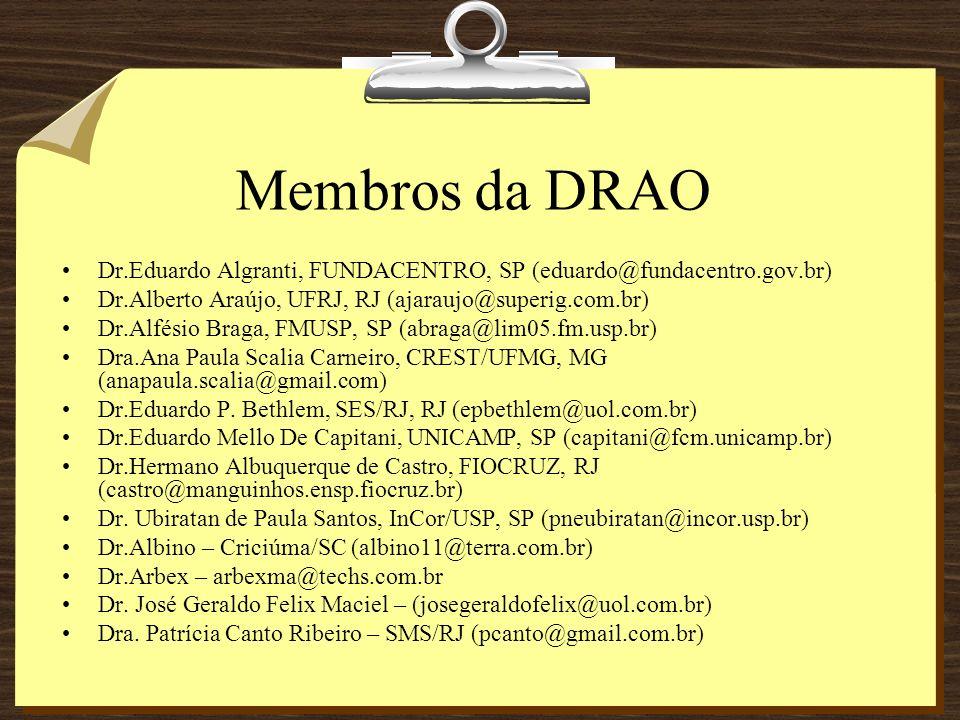 Membros da DRAO Dr.Eduardo Algranti, FUNDACENTRO, SP (eduardo@fundacentro.gov.br) Dr.Alberto Araújo, UFRJ, RJ (ajaraujo@superig.com.br) Dr.Alfésio Bra