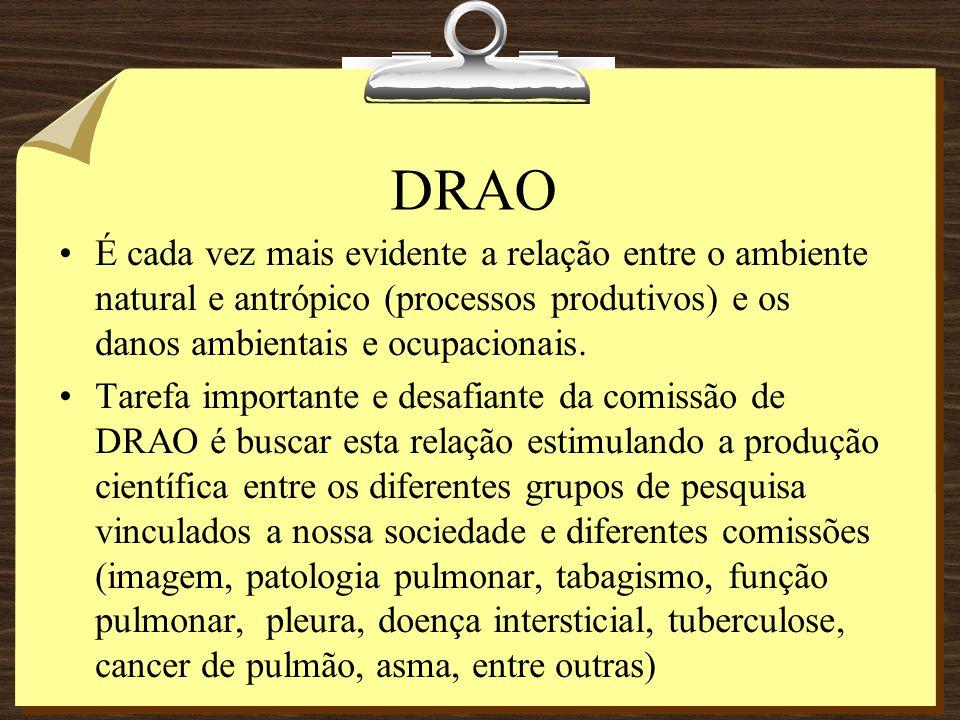 DRAO Doenças respiratórias ocupacionais não são reconhecidas ou identificadas com tendo sua relação com o trabalho.(asma ocupacional ) Doenças agravadas pelo ambiente (crianças e idosos) como asma e DPOC (outdoor) e sinusopatias (indoor), Embora, tenha sido iniciado, por parte do Ministério da Saúde, um processo de notificação de doenças respiratórias ocupacionais e o respectivo registro no sistema SINAN-NET, ainda há no Brasil uma grande invisibilidade nas doenças respiratórias ocupacionais.