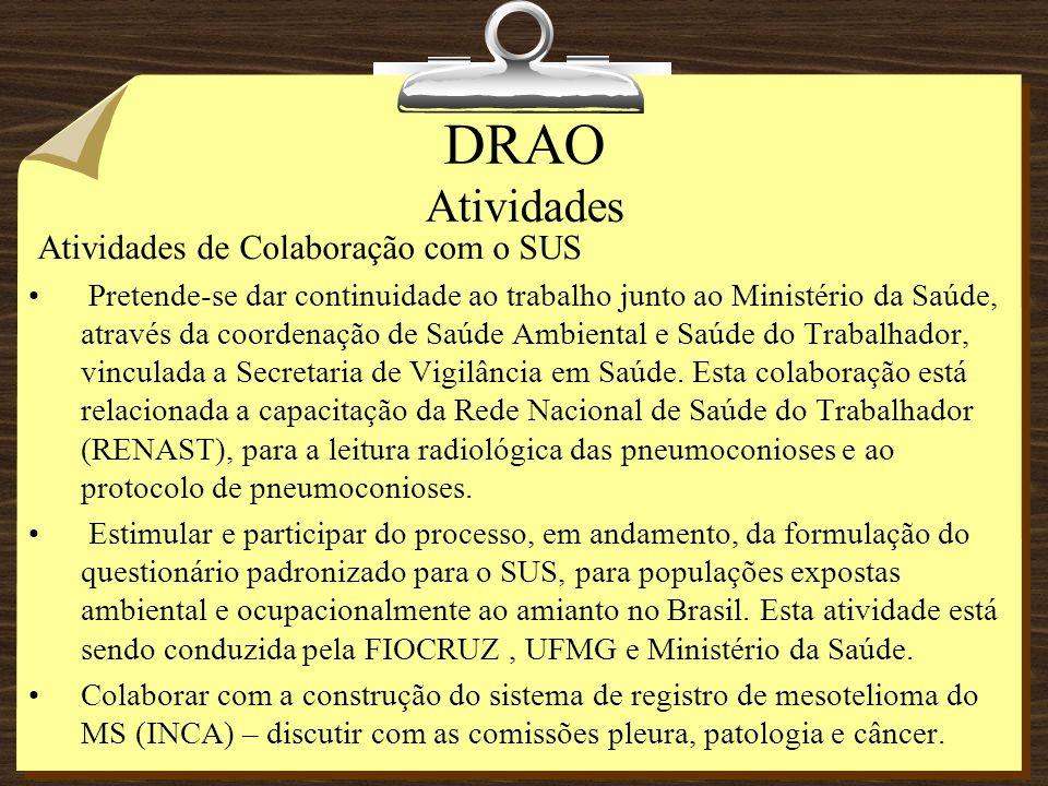 DRAO Atividades Atividades de Colaboração com o SUS Pretende-se dar continuidade ao trabalho junto ao Ministério da Saúde, através da coordenação de S