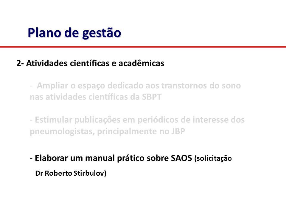 Plano de gestão 2- Atividades científicas e acadêmicas - Ampliar o espaço dedicado aos transtornos do sono nas atividades científicas da SBPT - Estimular publicações em periódicos de interesse dos pneumologistas, principalmente no JBP - Elaborar um manual prático sobre SAOS (solicitação Dr Roberto Stirbulov)