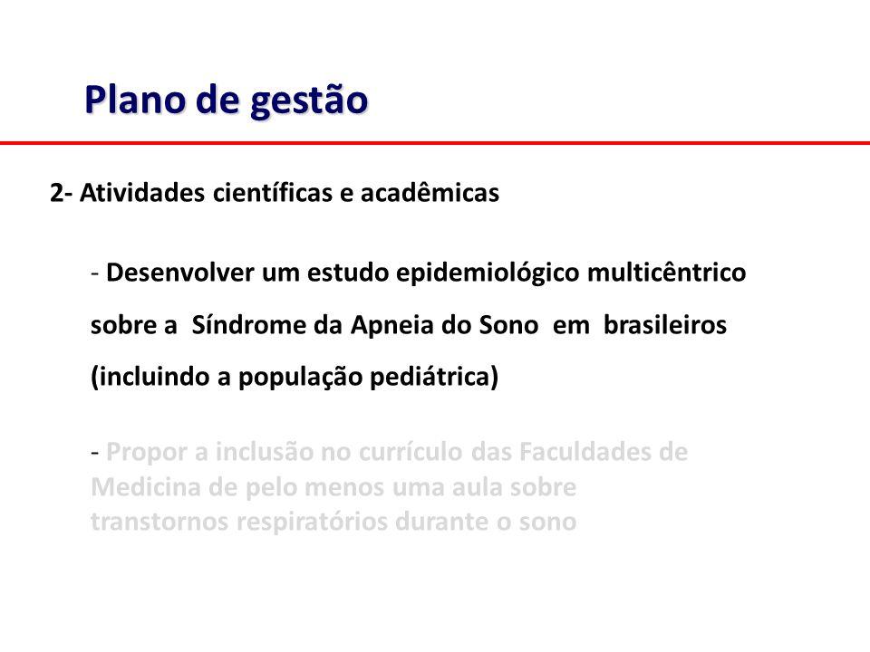 Plano de gestão 2- Atividades científicas e acadêmicas - Desenvolver um estudo epidemiológico multicêntrico sobre a Síndrome da Apneia do Sono em brasileiros (incluindo a população pediátrica) - Propor a inclusão no currículo das Faculdades de Medicina de pelo menos uma aula sobre transtornos respiratórios durante o sono