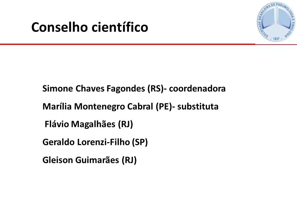 Conselho científico Simone Chaves Fagondes (RS)- coordenadora Marília Montenegro Cabral (PE)- substituta Flávio Magalhães (RJ) Geraldo Lorenzi-Filho (SP) Gleison Guimarães (RJ)