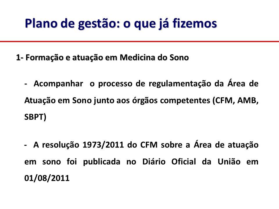 1- Formação e atuação em Medicina do Sono - Acompanhar o processo de regulamentação da Área de Atuação em Sono junto aos órgãos competentes (CFM, AMB,