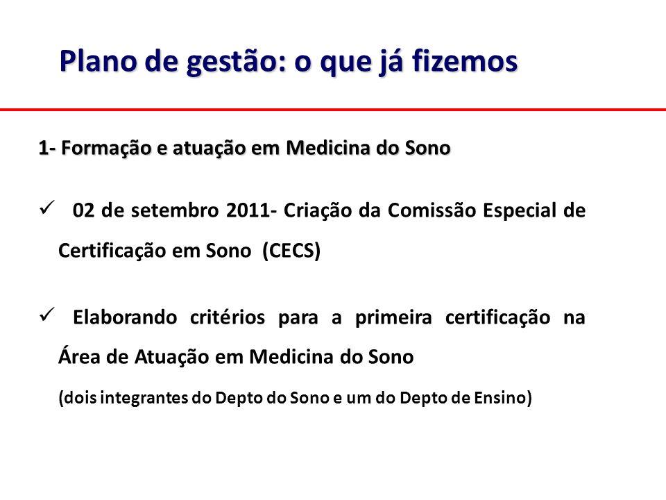 1- Formação e atuação em Medicina do Sono 02 de setembro 2011- Criação da Comissão Especial de Certificação em Sono (CECS) Elaborando critérios para a