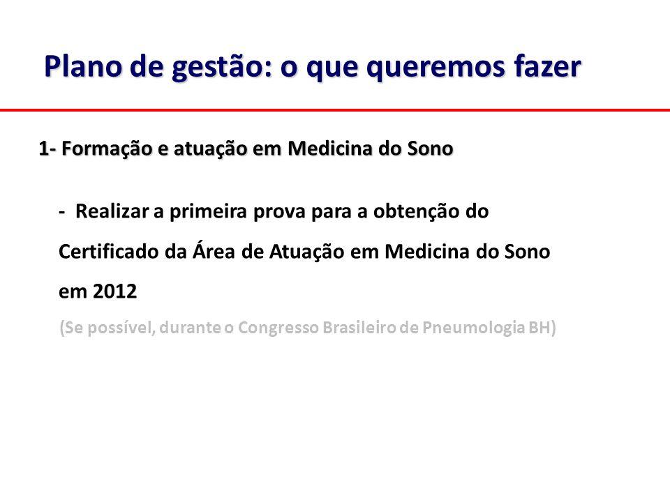 Plano de gestão: o que queremos fazer 1- Formação e atuação em Medicina do Sono - Realizar a primeira prova para a obtenção do Certificado da Área de
