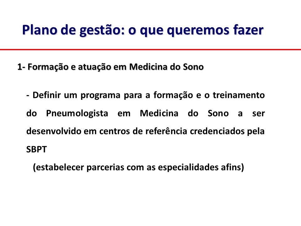 Plano de gestão: o que queremos fazer 1- Formação e atuação em Medicina do Sono - Definir um programa para a formação e o treinamento do Pneumologista