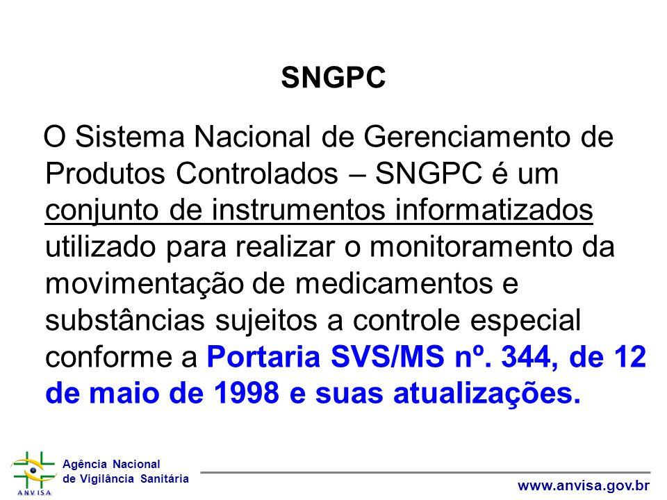Agência Nacional de Vigilância Sanitária www.anvisa.gov.br SNGPC O Sistema Nacional de Gerenciamento de Produtos Controlados – SNGPC é um conjunto de