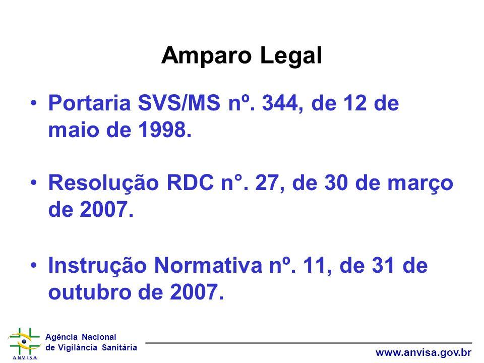 Agência Nacional de Vigilância Sanitária www.anvisa.gov.br Amparo Legal Portaria SVS/MS nº. 344, de 12 de maio de 1998. Resolução RDC n°. 27, de 30 de