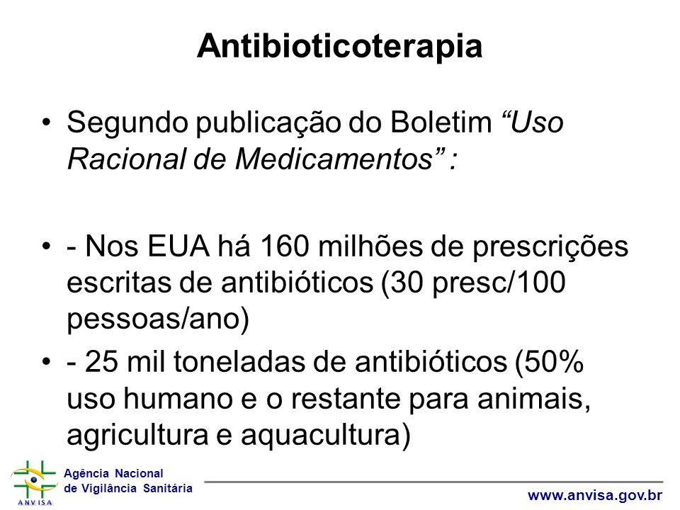 Agência Nacional de Vigilância Sanitária www.anvisa.gov.br Antibioticoterapia Segundo publicação do Boletim Uso Racional de Medicamentos : - Nos EUA há 160 milhões de prescrições escritas de antibióticos (30 presc/100 pessoas/ano) - 25 mil toneladas de antibióticos (50% uso humano e o restante para animais, agricultura e aquacultura)