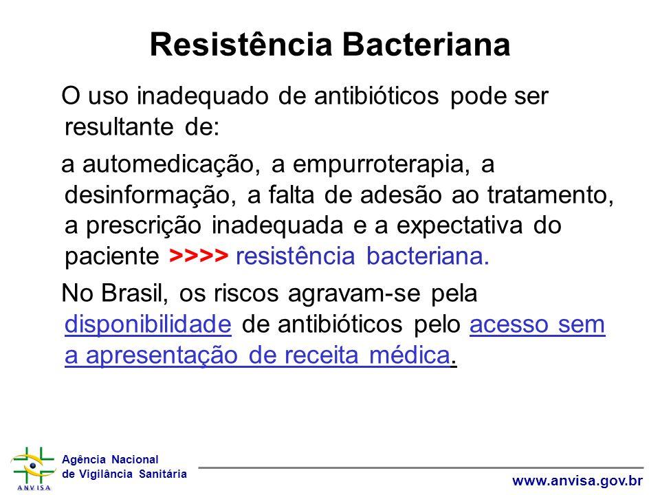 Agência Nacional de Vigilância Sanitária www.anvisa.gov.br Posicionamento do FDA Infecções por microorganismos resistentes são adquiridas também na comunidade e não unicamente nos hospitais Espera-se que campanhas educativas e regulamentação adequada ajudarão a diminuir o uso incorreto dos antibióticos.
