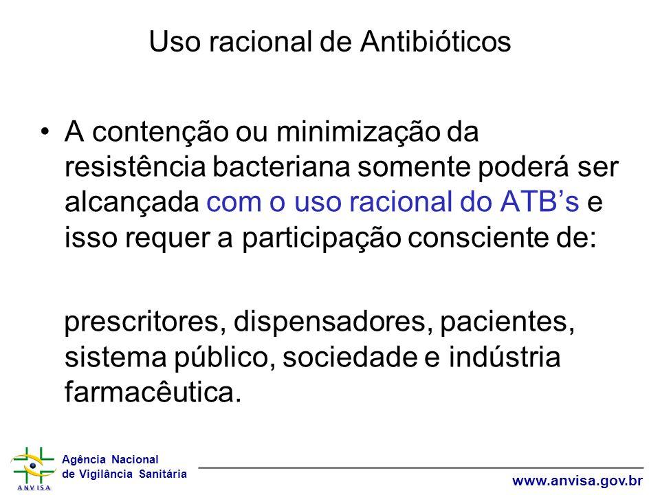 Agência Nacional de Vigilância Sanitária www.anvisa.gov.br Uso racional de Antibióticos A contenção ou minimização da resistência bacteriana somente p