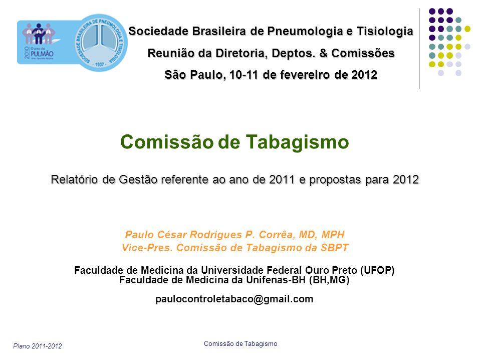 Plano 2011-2012 Comissão de Tabagismo Relatório de Gestão referente ao ano de 2011 e propostas para 2012 Paulo César Rodrigues P. Corrêa, MD, MPH Vice