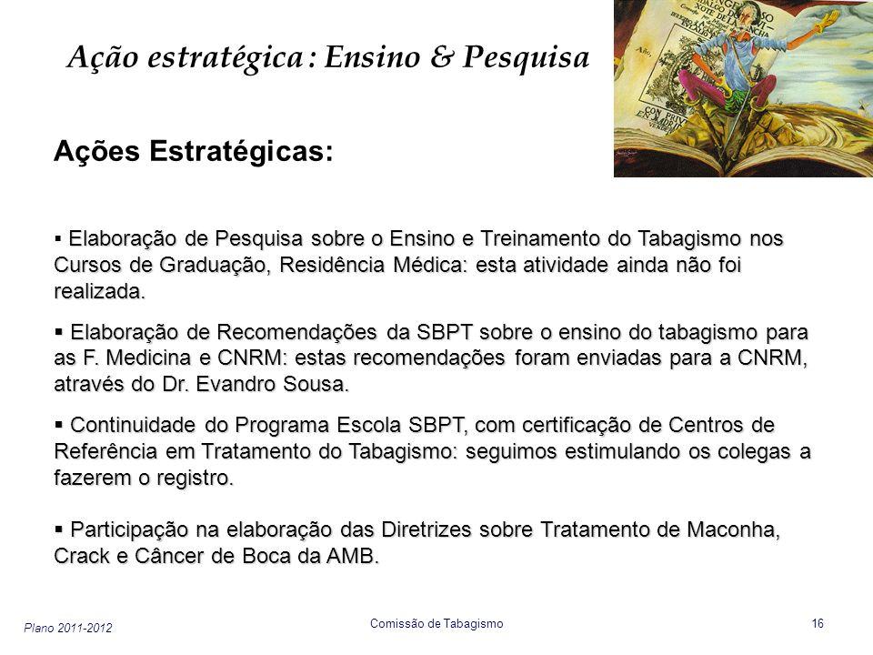 Plano 2011-2012 Comissão de Tabagismo 17 Ação estratégica : Ensino & Pesquisa Ações Estratégicas: Utilização das Redes Virtuais para Discussão do Tabagismo para alunos de graduação e para residentes: o Fórum de Tabagismo e agora o Respire Brazil no Face-Book estão sendo bem ocupados pela SBPT.