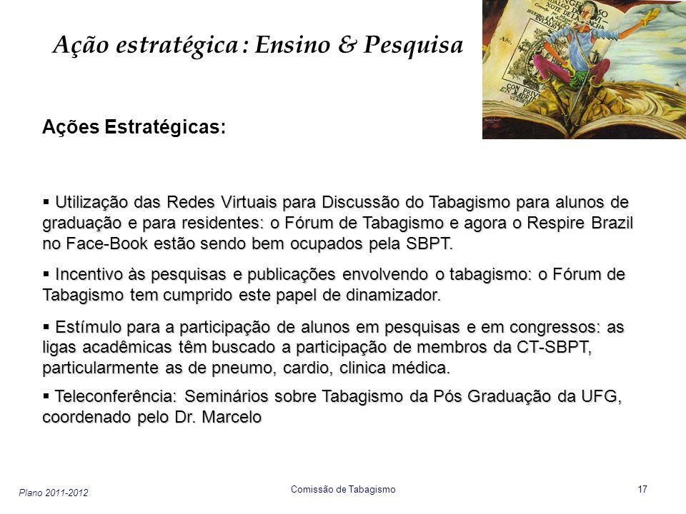 Plano 2011-2012 Comissão de Tabagismo 17 Ação estratégica : Ensino & Pesquisa Ações Estratégicas: Utilização das Redes Virtuais para Discussão do Taba