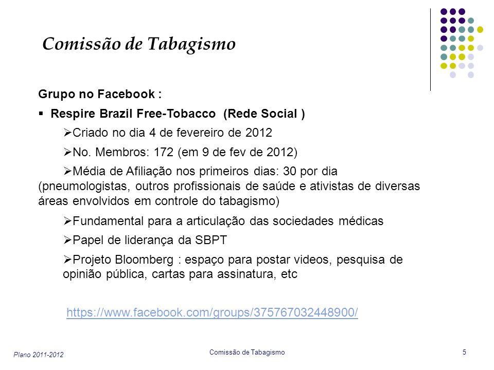 Plano 2011-2012 Comissão de Tabagismo 5 Grupo no Facebook : Respire Brazil Free-Tobacco (Rede Social ) Criado no dia 4 de fevereiro de 2012 No. Membro