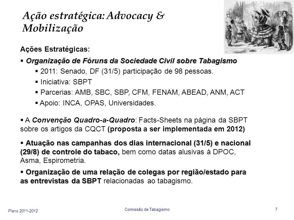 Plano 2011-2012 Comissão de Tabagismo 8 Ação estratégica : Advocacy & Mobilização Ações Estratégicas: Advocacy nas Políticas de Controle do Tabaco Advocacy nas Políticas de Controle do Tabaco: leis de ambientes livres de tabaco (ALT) etc.