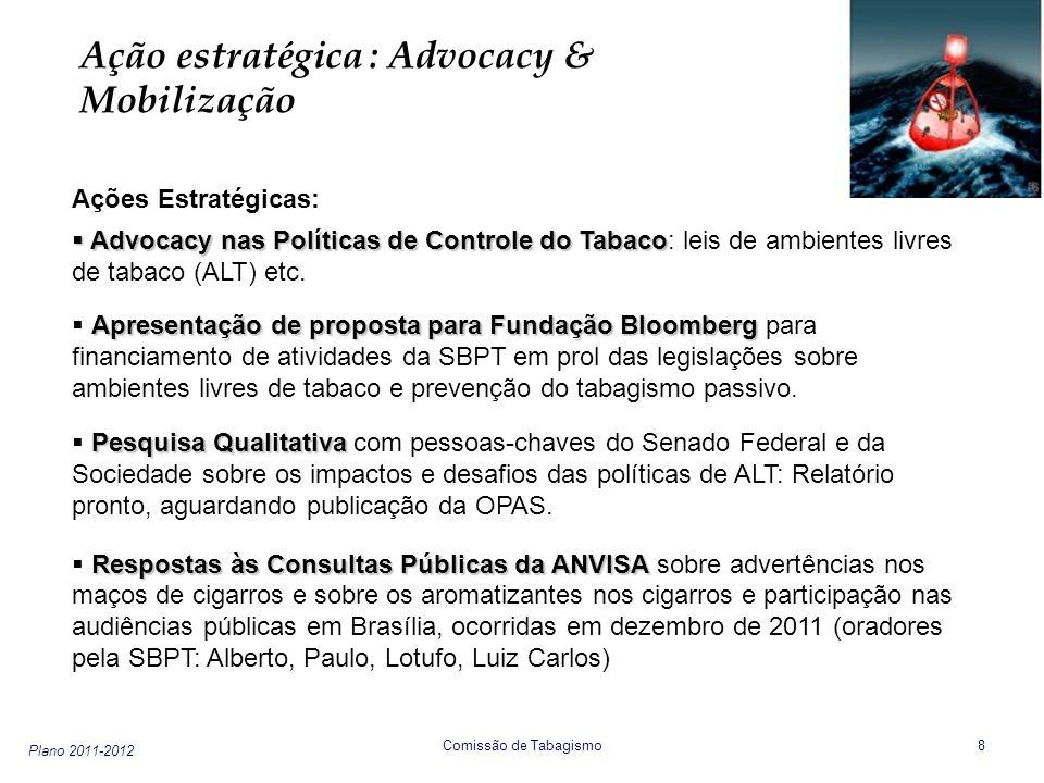 Plano 2011-2012 Comissão de Tabagismo 8 Ação estratégica : Advocacy & Mobilização Ações Estratégicas: Advocacy nas Políticas de Controle do Tabaco Adv