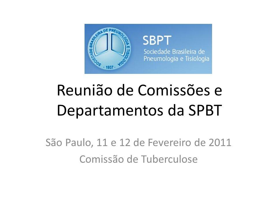 Reunião de Comissões e Departamentos da SPBT São Paulo, 11 e 12 de Fevereiro de 2011 Comissão de Tuberculose