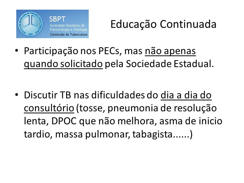 Educação Continuada Participação nos PECs, mas não apenas quando solicitado pela Sociedade Estadual. Discutir TB nas dificuldades do dia a dia do cons