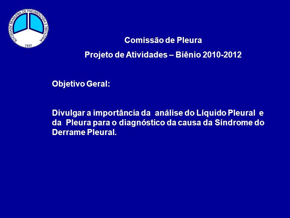 Comissão de Pleura Projeto de Atividades – Biênio 2010-2012 Objetivo Geral: Divulgar a importância da análise do Líquido Pleural e da Pleura para o di