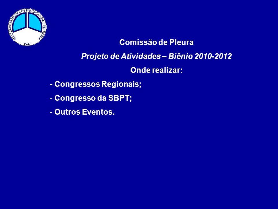 Comissão de Pleura Projeto de Atividades – Biênio 2010-2012 Onde realizar: - Congressos Regionais; - Congresso da SBPT; - Outros Eventos.