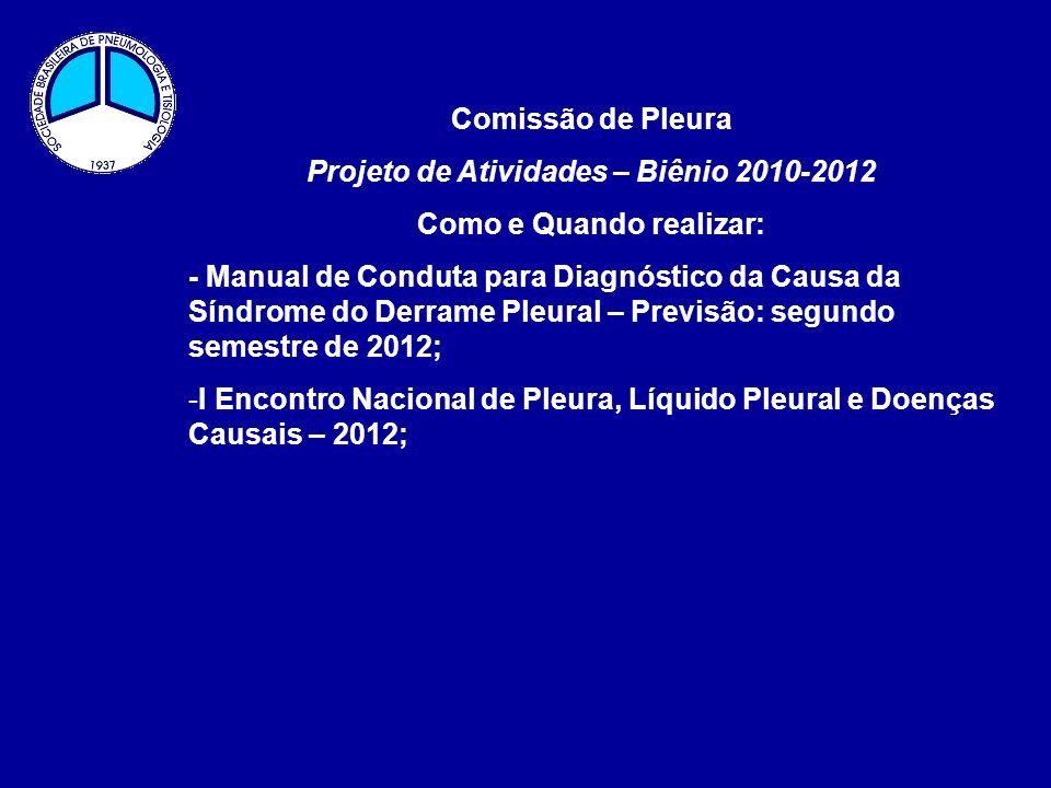 Comissão de Pleura Projeto de Atividades – Biênio 2010-2012 Como e Quando realizar: - Manual de Conduta para Diagnóstico da Causa da Síndrome do Derra