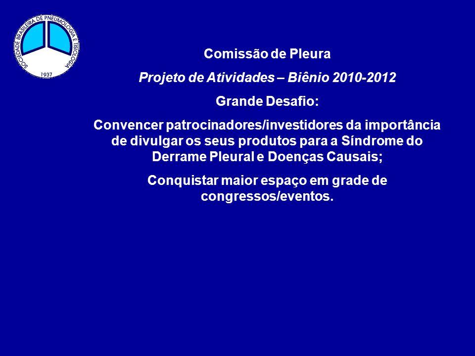 Comissão de Pleura Projeto de Atividades – Biênio 2010-2012 Grande Desafio: Convencer patrocinadores/investidores da importância de divulgar os seus p