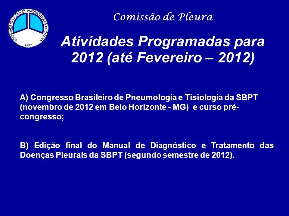 Comissão de Pleura Atividades Programadas para 2012 (até Fevereiro – 2012) A) Congresso Brasileiro de Pneumologia e Tisiologia da SBPT (novembro de 20