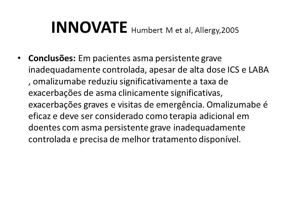 INNOVATE Humbert M et al, Allergy,2005 Conclusões: Em pacientes asma persistente grave inadequadamente controlada, apesar de alta dose ICS e LABA, oma