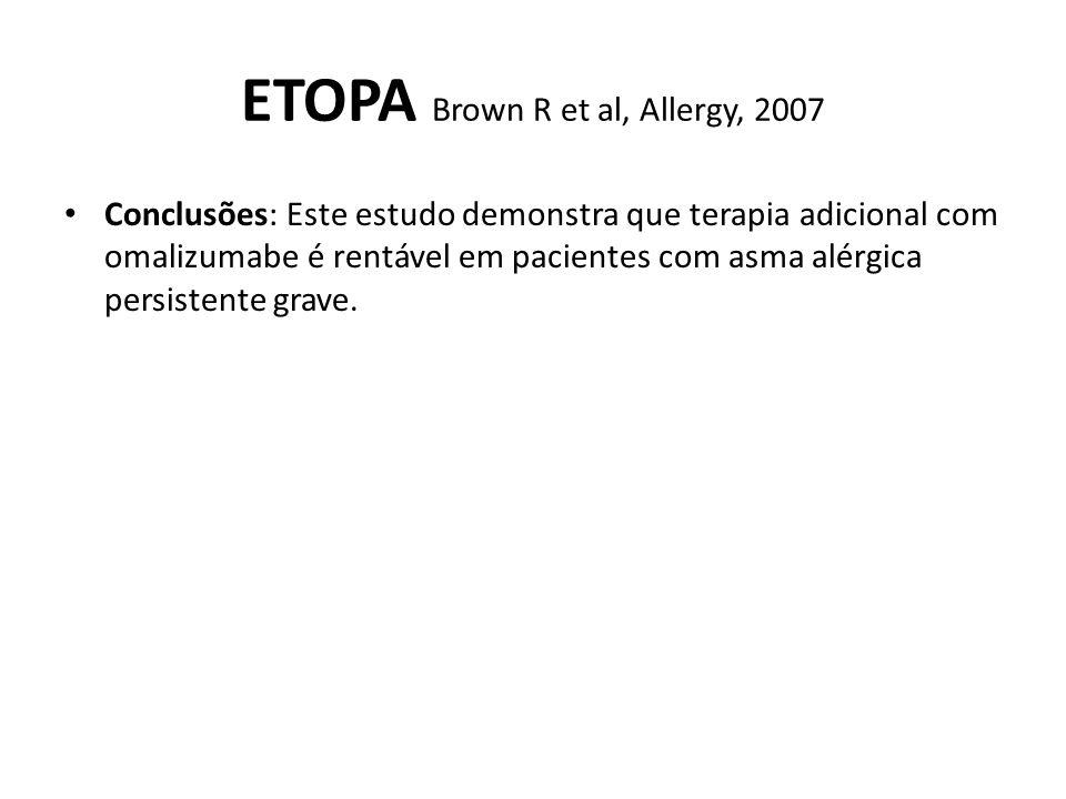 ETOPA Brown R et al, Allergy, 2007 Conclusões: Este estudo demonstra que terapia adicional com omalizumabe é rentável em pacientes com asma alérgica p