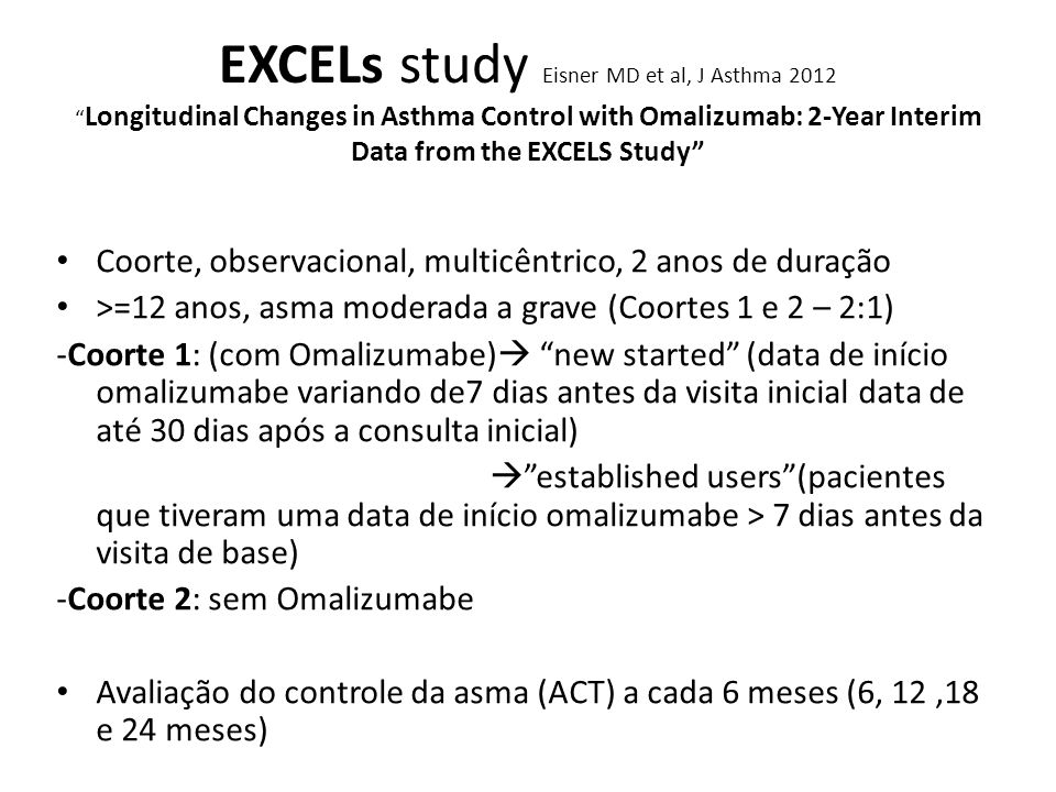 EXCELs study Eisner MD et al, J Asthma 2012 Longitudinal Changes in Asthma Control with Omalizumab: 2-Year Interim Data from the EXCELS Study Coorte,