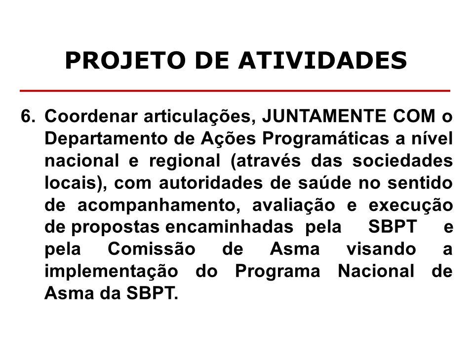 PROJETO DE ATIVIDADES 6. Coordenar articulações, JUNTAMENTE COM o Departamento de Ações Programáticas a nível nacional e regional (através das socieda