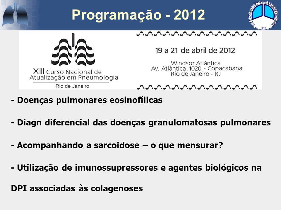 - Doenças pulmonares eosinofílicas - Diagn diferencial das doenças granulomatosas pulmonares - Acompanhando a sarcoidose – o que mensurar? - Utilizaçã