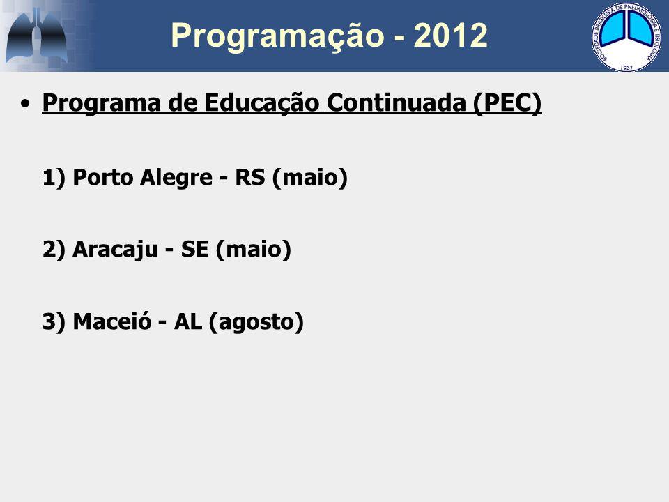 Programa de Educação Continuada (PEC) 1) Porto Alegre - RS (maio) 2) Aracaju - SE (maio) 3) Maceió - AL (agosto)