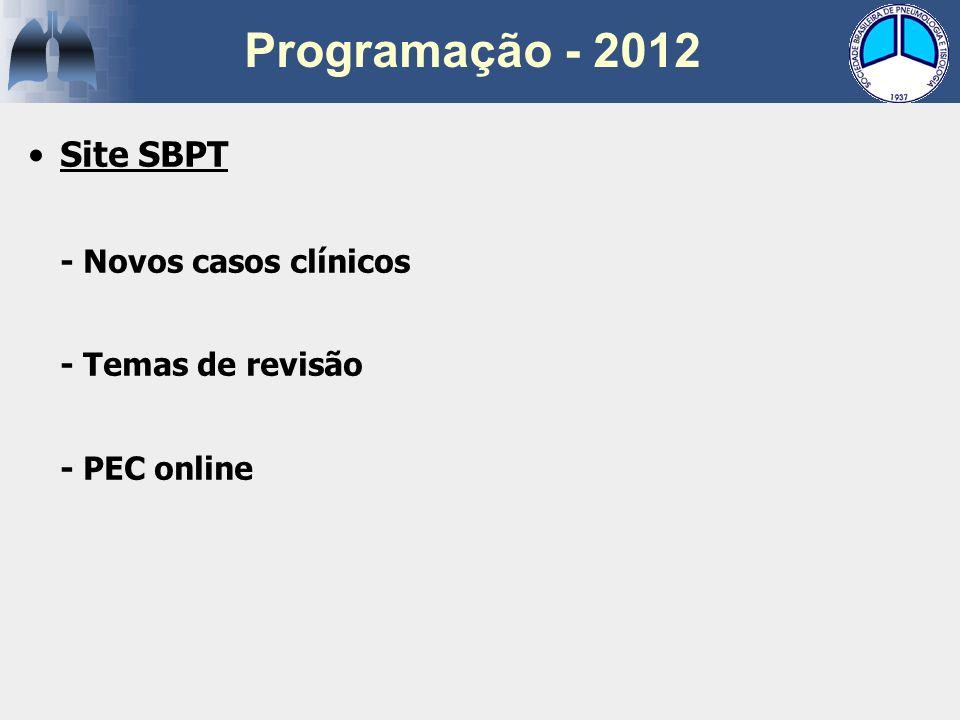Site SBPT - Novos casos clínicos - Temas de revisão - PEC online Programação - 2012