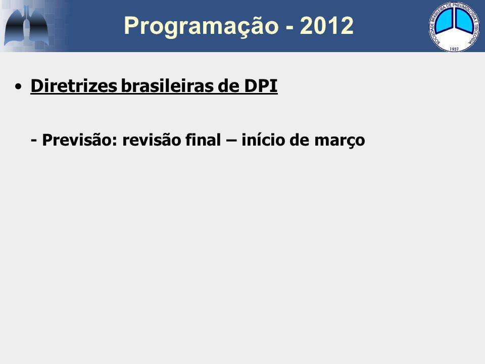 Diretrizes brasileiras de DPI - Previsão: revisão final – início de março Programação - 2012