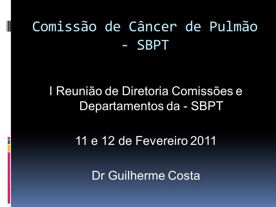 Comissão de Câncer de Pulmão - SBPT I Reunião de Diretoria Comissões e Departamentos da - SBPT 11 e 12 de Fevereiro 2011 Dr Guilherme Costa
