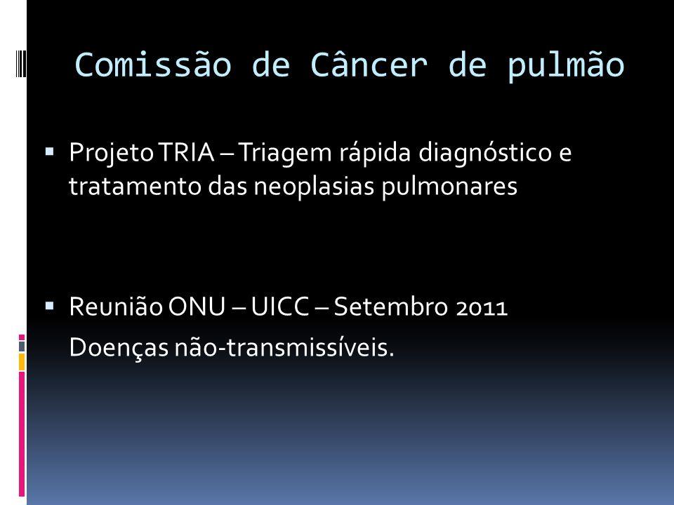 Comissão de Câncer de pulmão Projeto TRIA – Triagem rápida diagnóstico e tratamento das neoplasias pulmonares Reunião ONU – UICC – Setembro 2011 Doenç