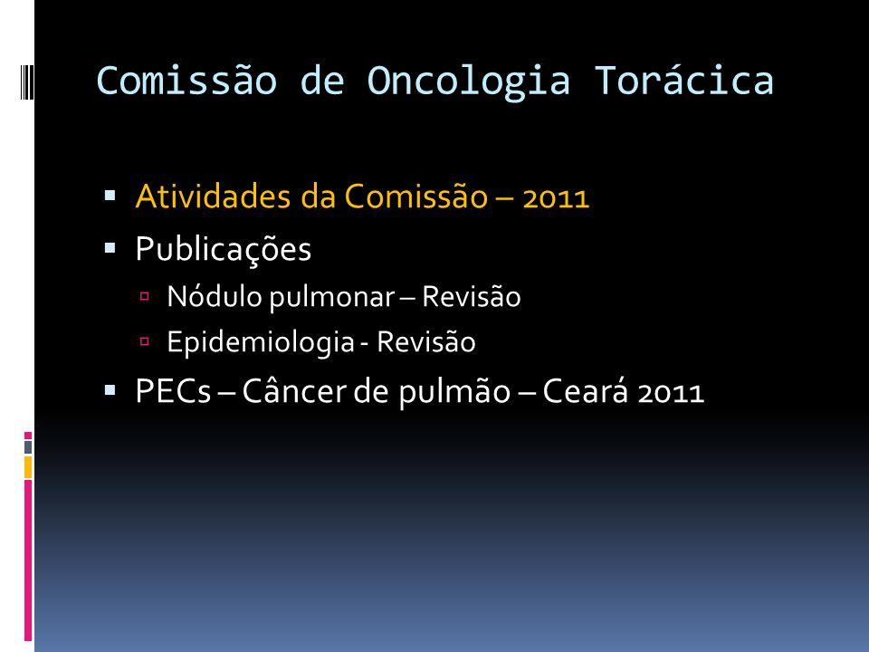 Comissão de Oncologia Torácica Atividades da Comissão – 2011 Publicações Nódulo pulmonar – Revisão Epidemiologia - Revisão PECs – Câncer de pulmão – C