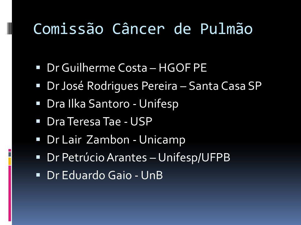 Comissão Câncer de Pulmão Dr Guilherme Costa – HGOF PE Dr José Rodrigues Pereira – Santa Casa SP Dra Ilka Santoro - Unifesp Dra Teresa Tae - USP Dr La