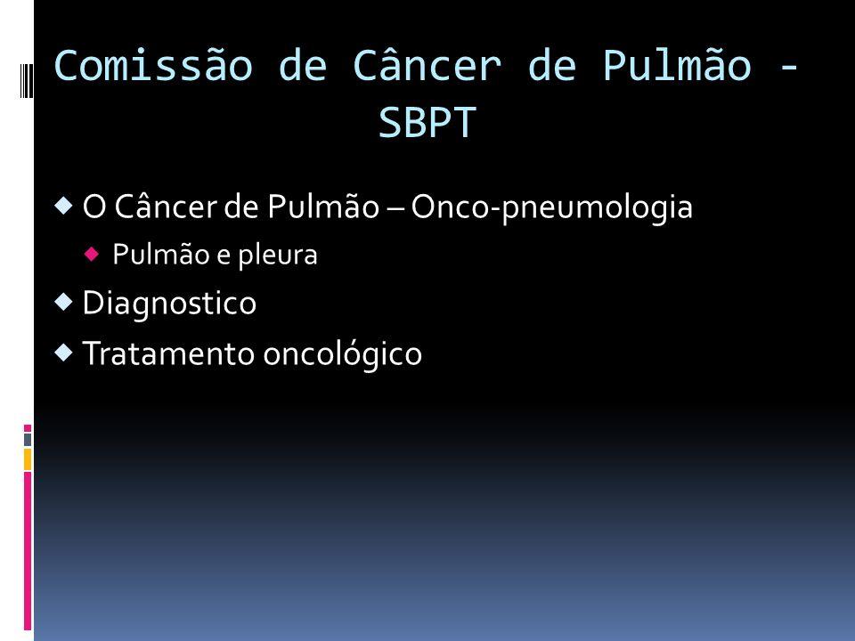 Comissão de Câncer de Pulmão - SBPT O Câncer de Pulmão – Onco-pneumologia Pulmão e pleura Diagnostico Tratamento oncológico