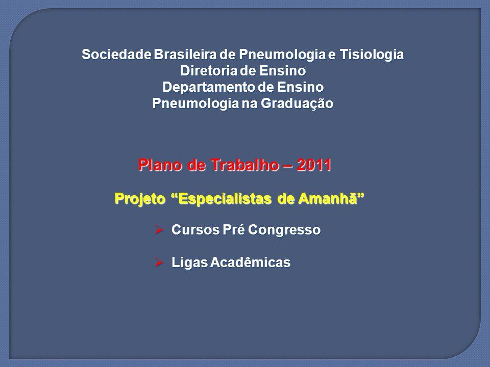 Sociedade Brasileira de Pneumologia e Tisiologia Diretoria de Ensino Departamento de Ensino Pneumologia na Graduação Plano de Trabalho – 2011 Projeto